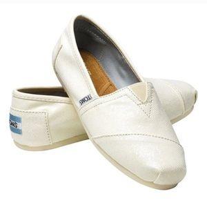 Tom's Classic Ivory Sparkle Bridal Sequin Shoes 9